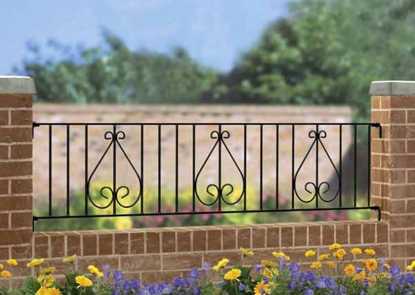 wrought iron railing panel - Henley Scroll