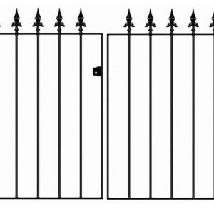 Gaelic Safety Fleur-De-Lys Spear Top Flat Double Driveway Gate 3ft
