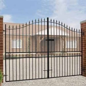 Corfe Premium Fleur-De-Lys Spear Top Tall Bow Top Double Estate Gate