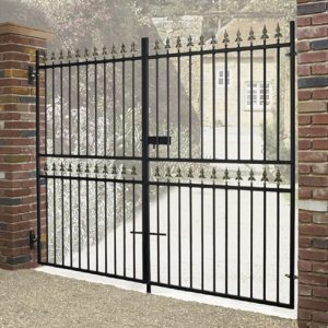 Corfe Premium Fleur-De-Lys Spear Top Tall Flat Top Double Gate
