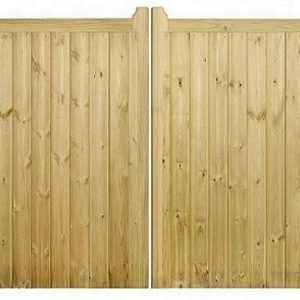 Drayton Square Top Wooden Low Double Driveway Gate