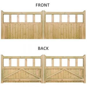 Quorn Wooden Double Driveway Gate front and back