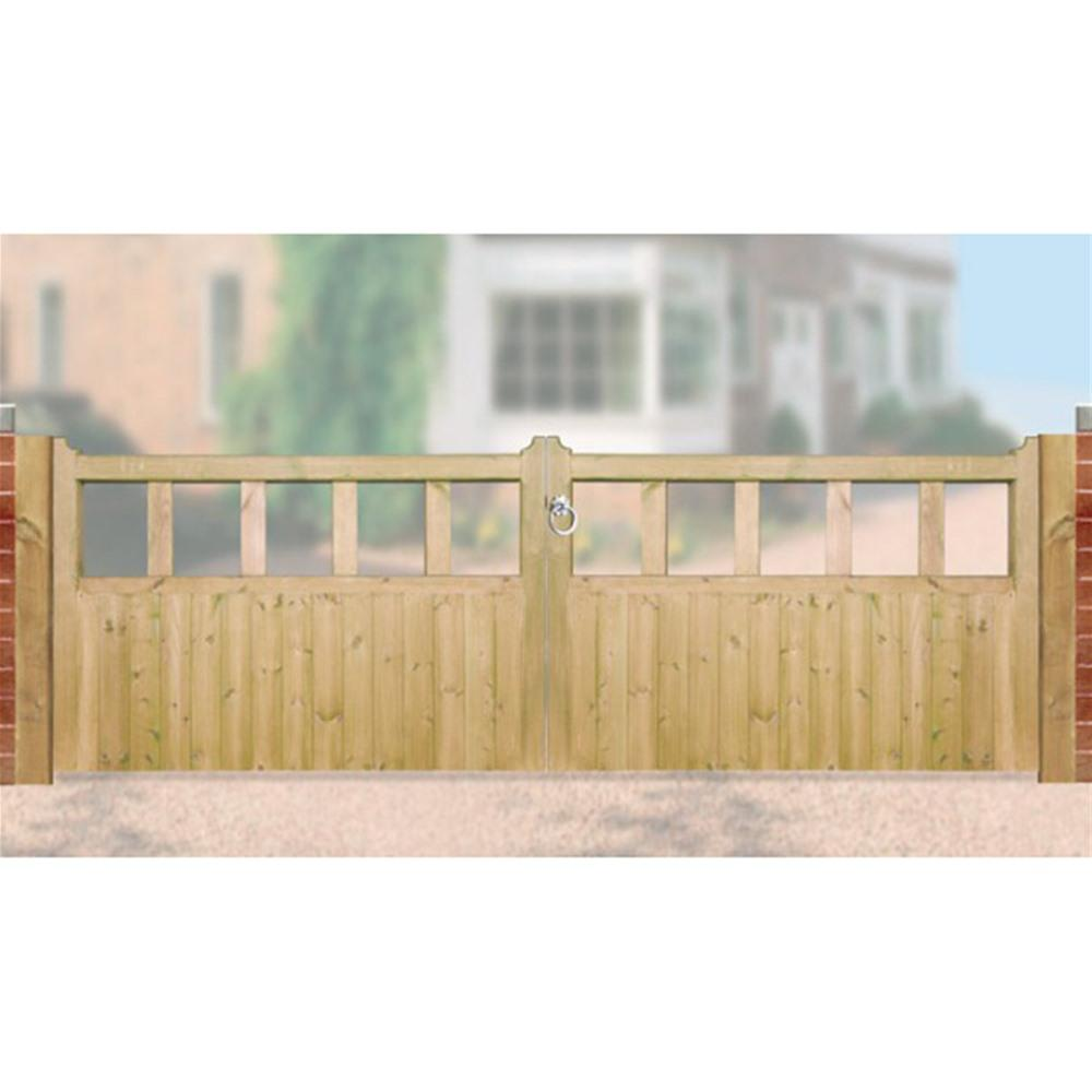 Double driveway gate archives supreme ironworks the uk for Double wooden driveway gates